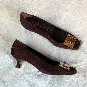 Donald J. Pliner Brown Suede Buckle Kitten Heels